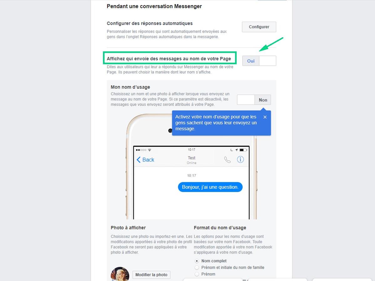 Afficher qui envoie des messages au nom de la page Facebook