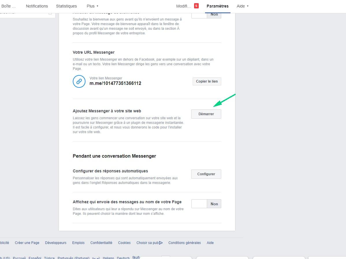 Ajouter Messenger sur votre site web image 1