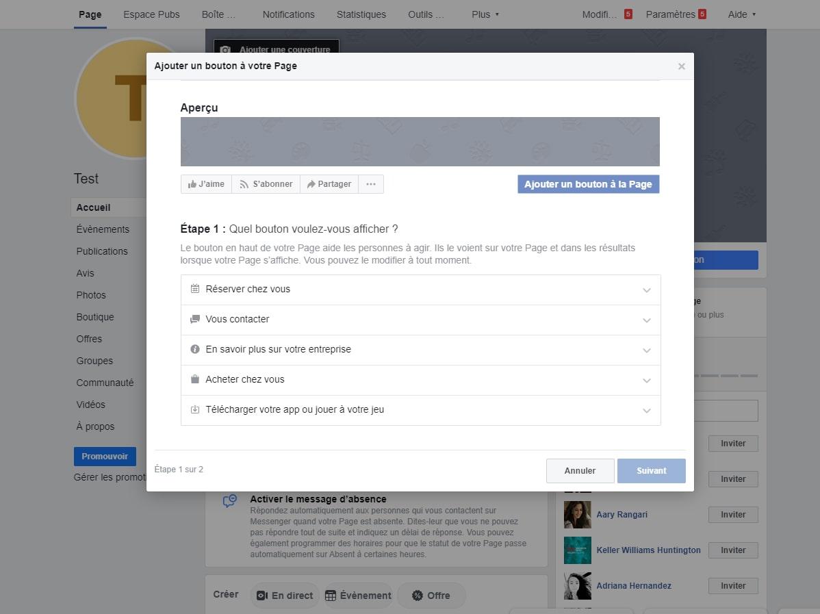 Ajouter un bouton a page Facebook image 1
