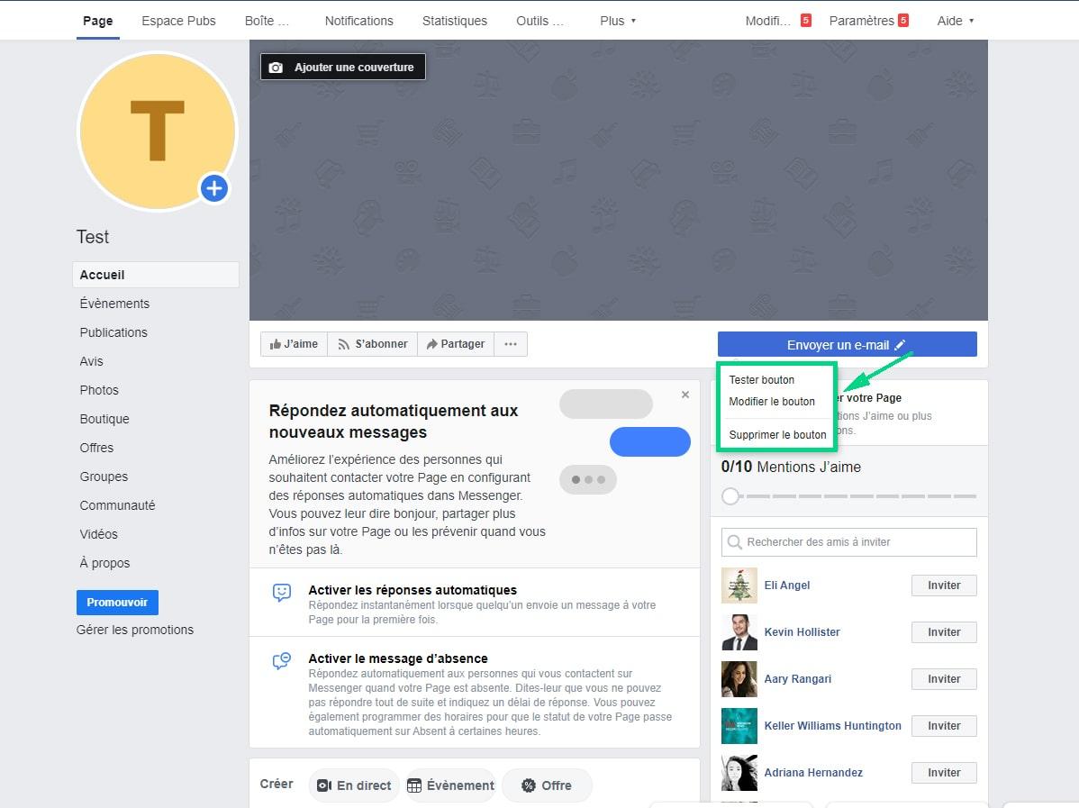 modifier ou tester le bouton Facebook