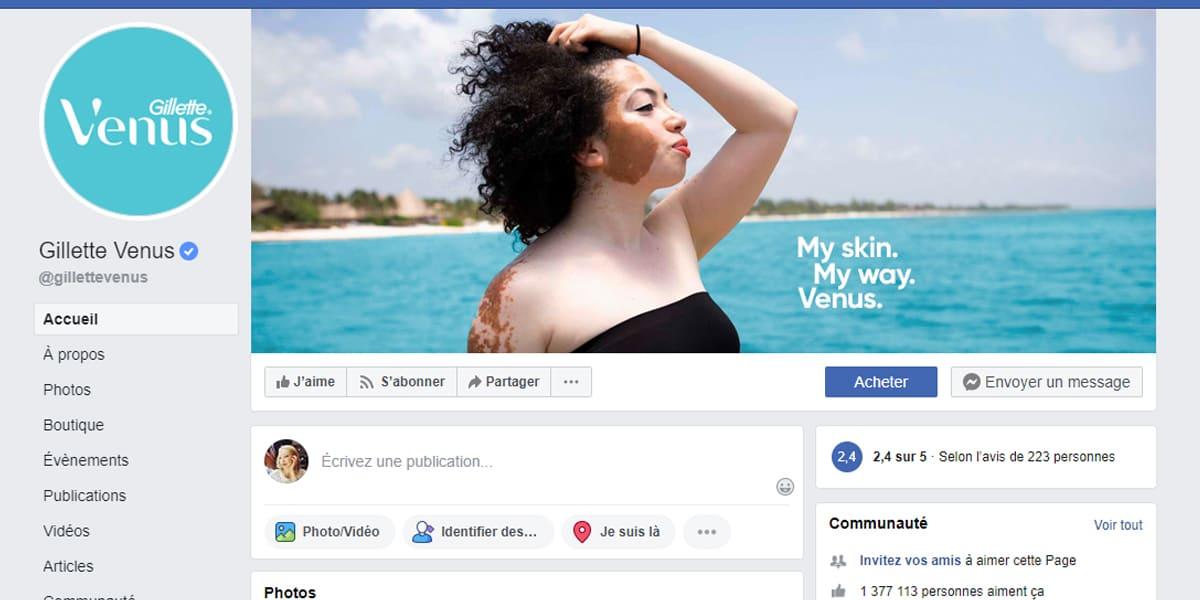 Exemple 13 - Facebook Page Professionnelle Gillette Venus