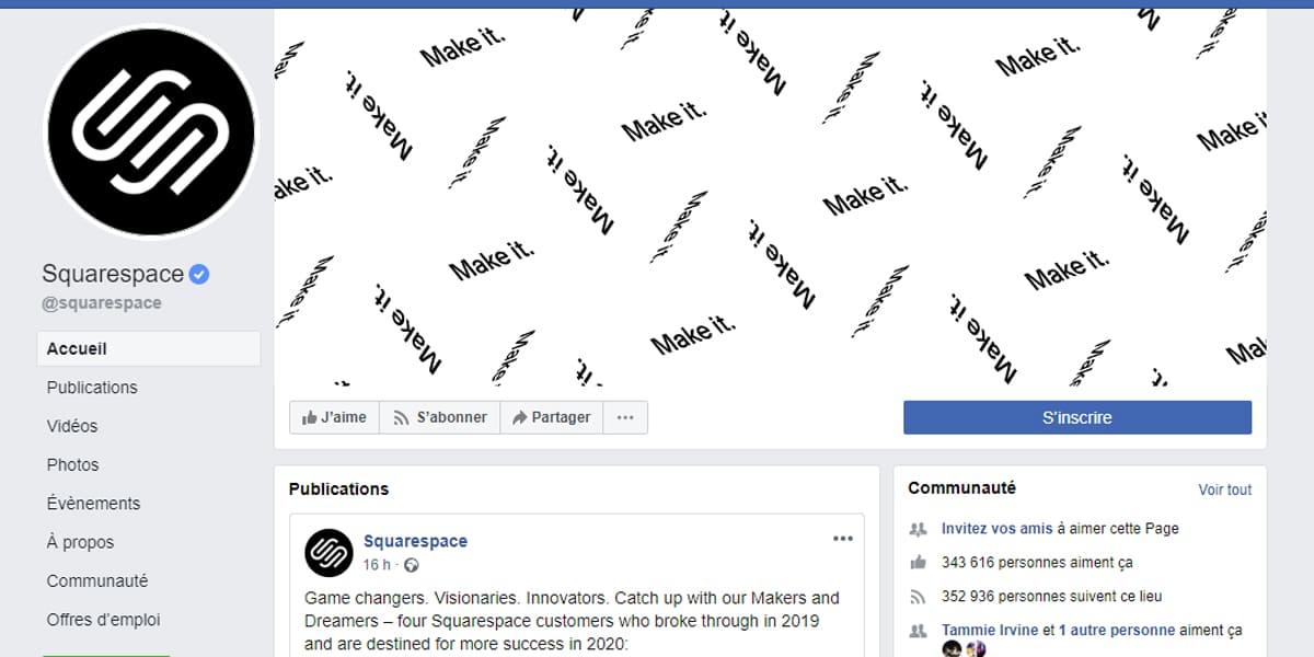 Exemple 18 - La Page Facebook d'entreprise de Squarespace,