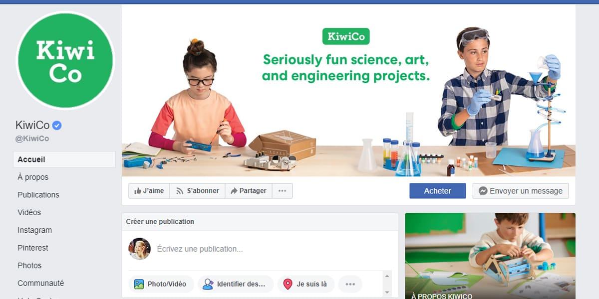 Facebook page pro couverture KiwiC