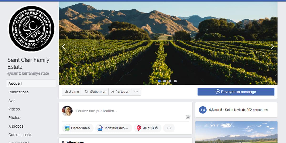 La couverture sous forme de diaporama Facebook Saint Claire Family Estate