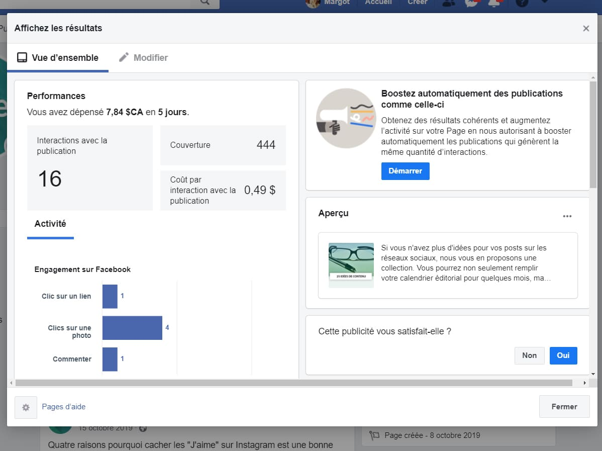 Affichez les resultats de publicite Facebook