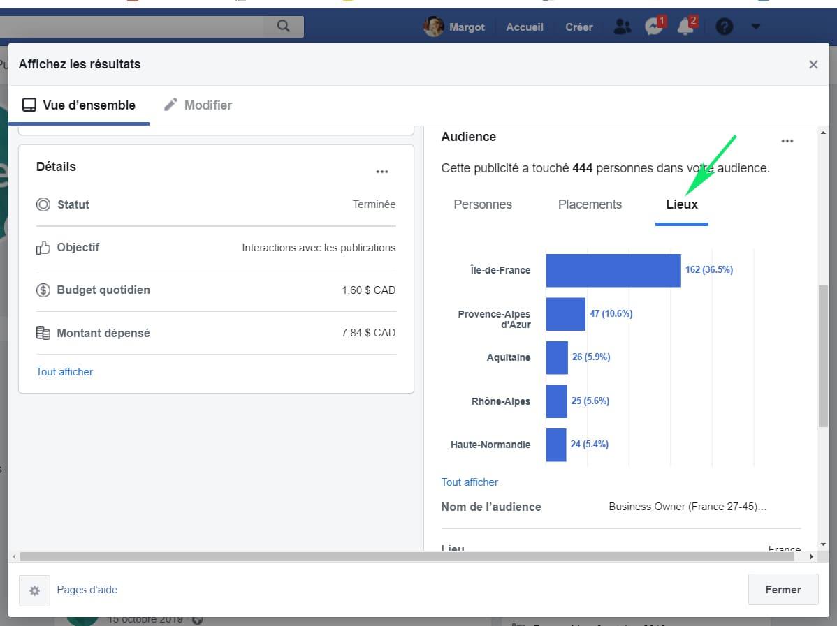 Affichez les resultats de publicite Facebook lieux