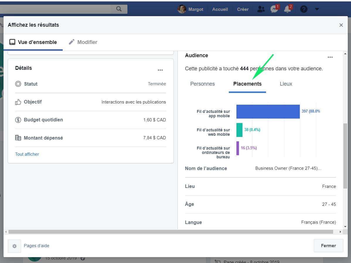 Affichez les resultats de publicite Facebook placements