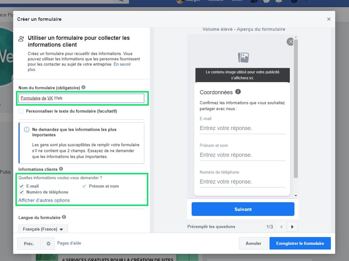 Creer un formulaire Facebook
