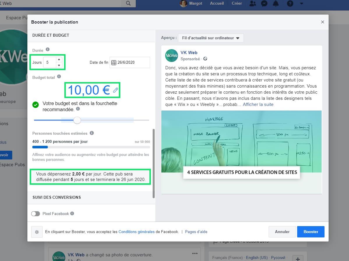 Duree et budget publicite Facebook