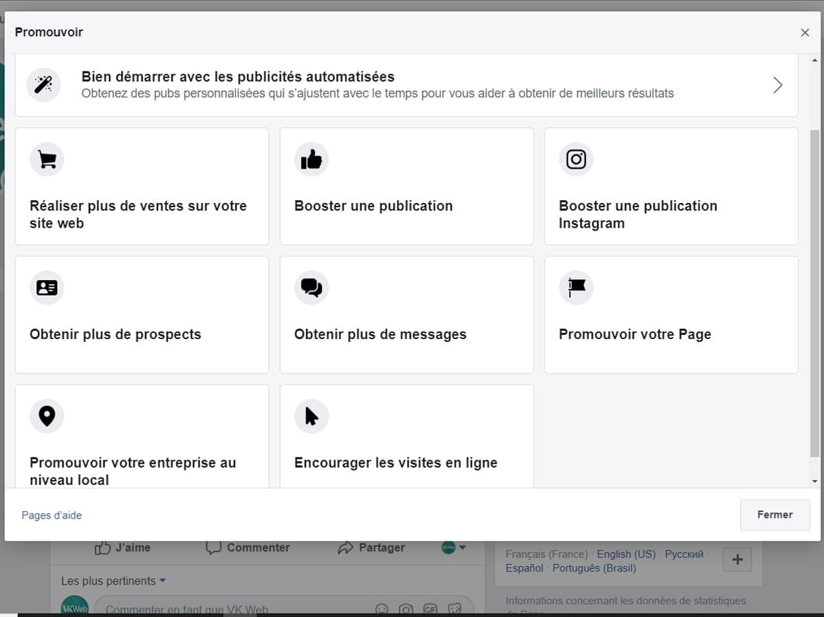 Objectifs de promotion Facebook