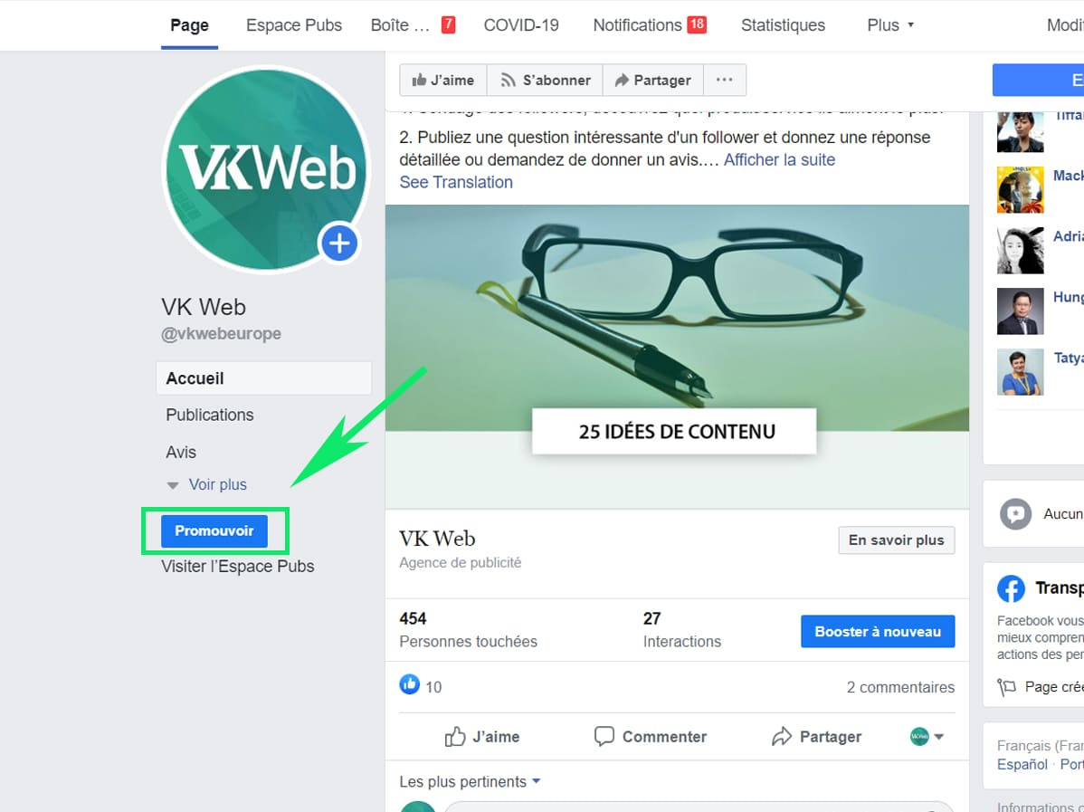 Promotion campagne facebook
