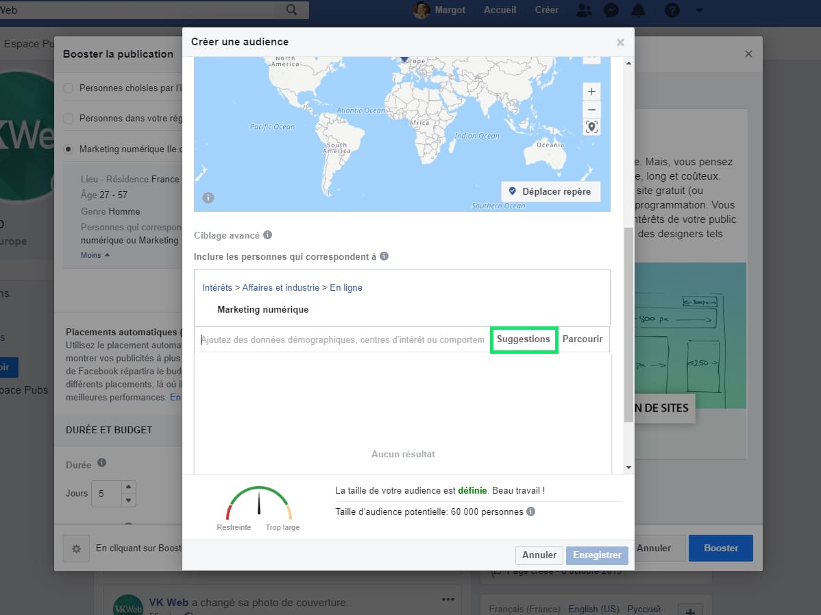 Intérêts Facebook