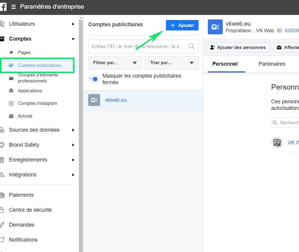 Ajouter comptes publicitaires à Business Manager