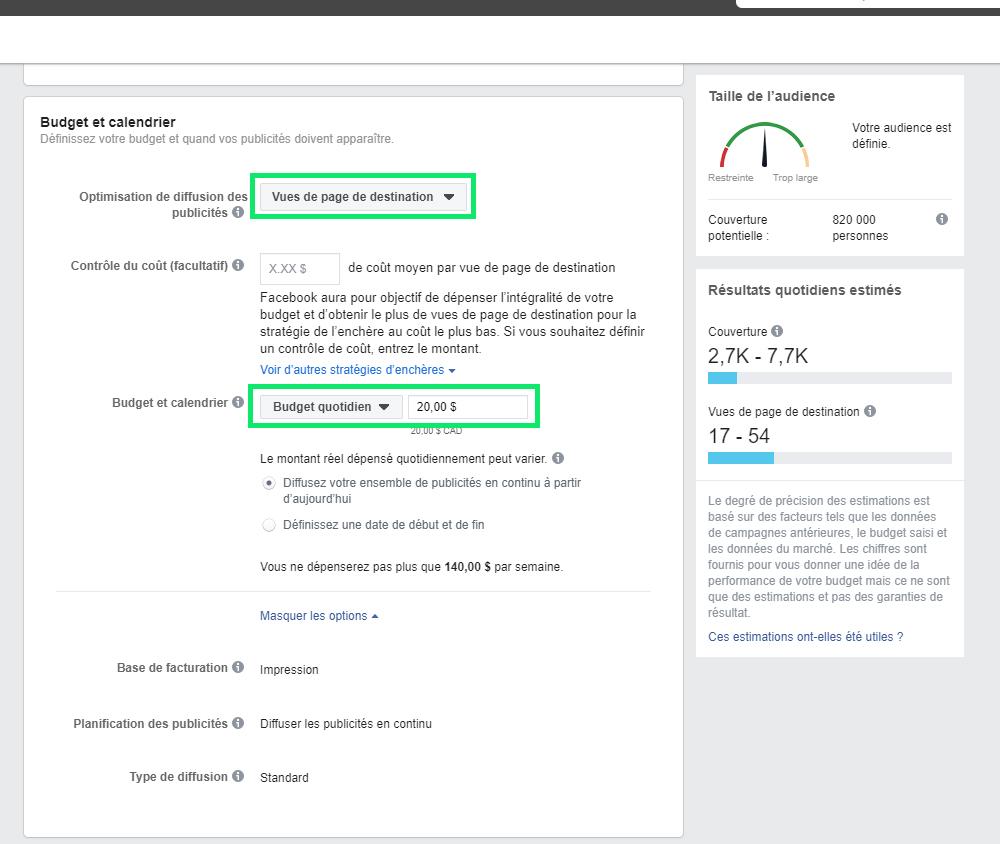 Budget et calendrier publicitaire Facebook