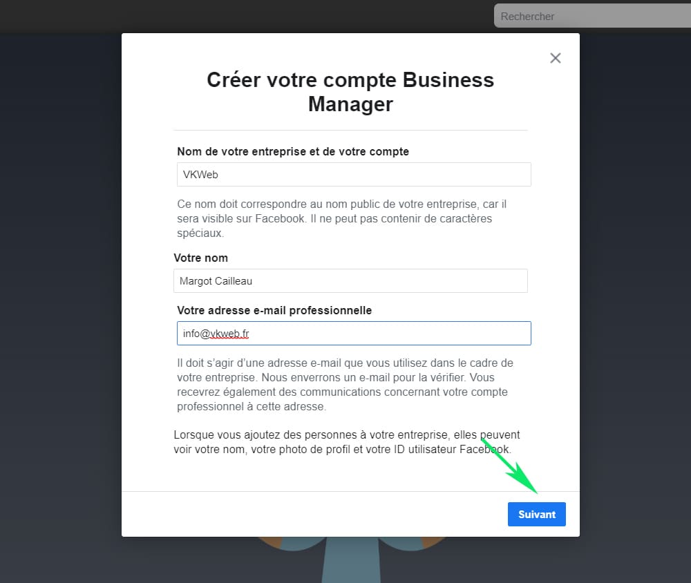 Creer un compte Business Manager