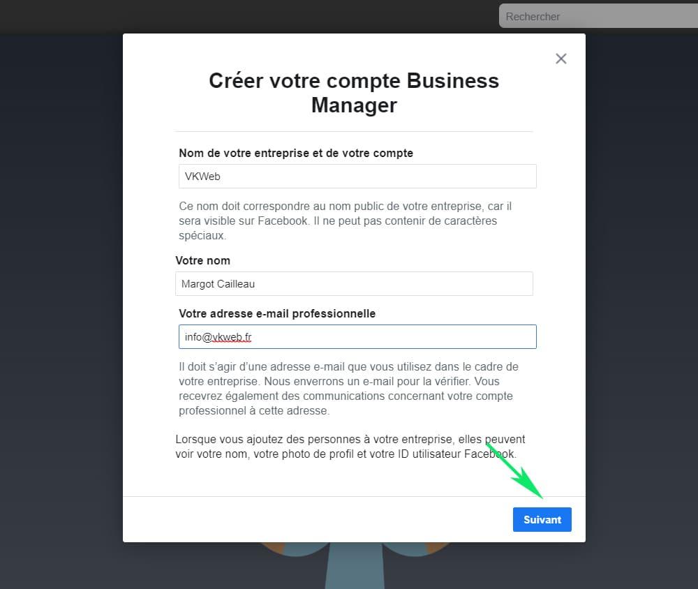 Créer un compte Business Manager