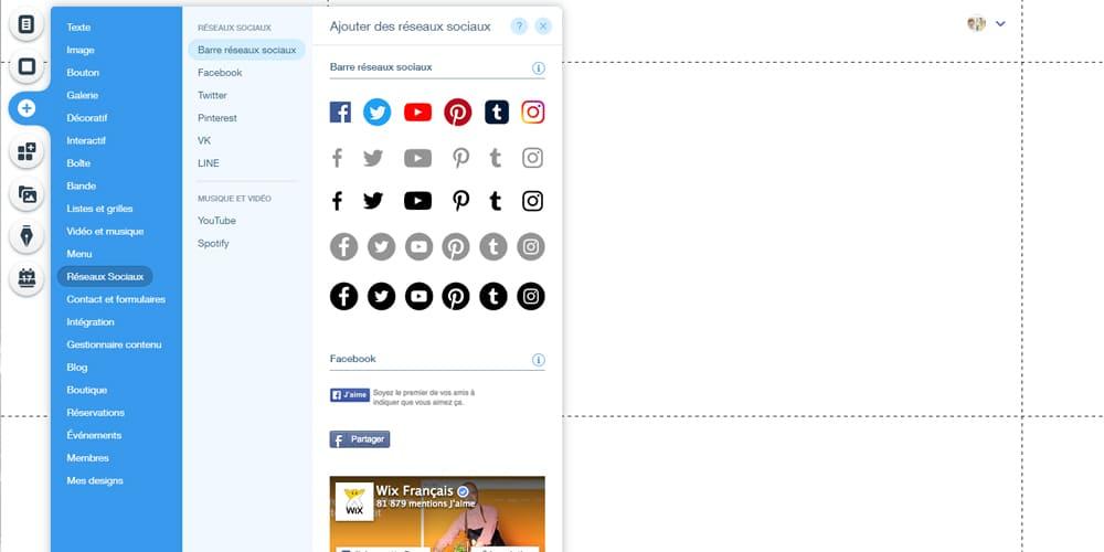 Boutons de medias sociaux