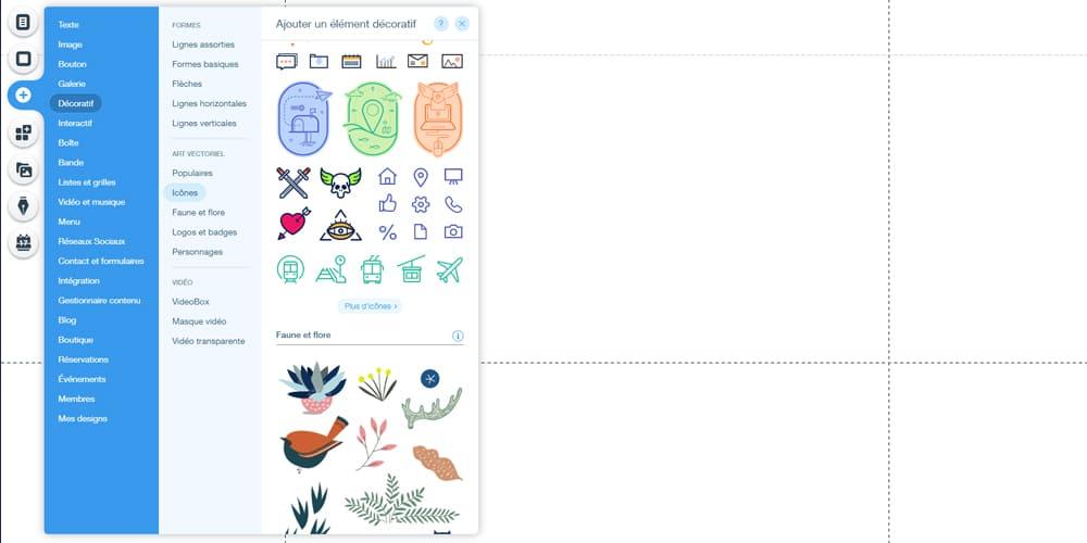 Petite galerie avec des icônes sur Wix