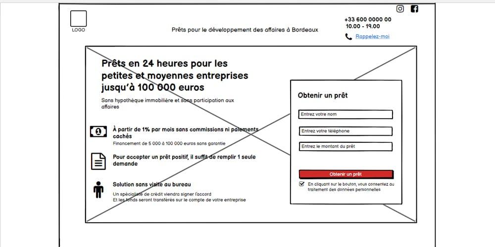 Prototype du premier écran du futur site conçu à l'aide de Balsamiq Mockups