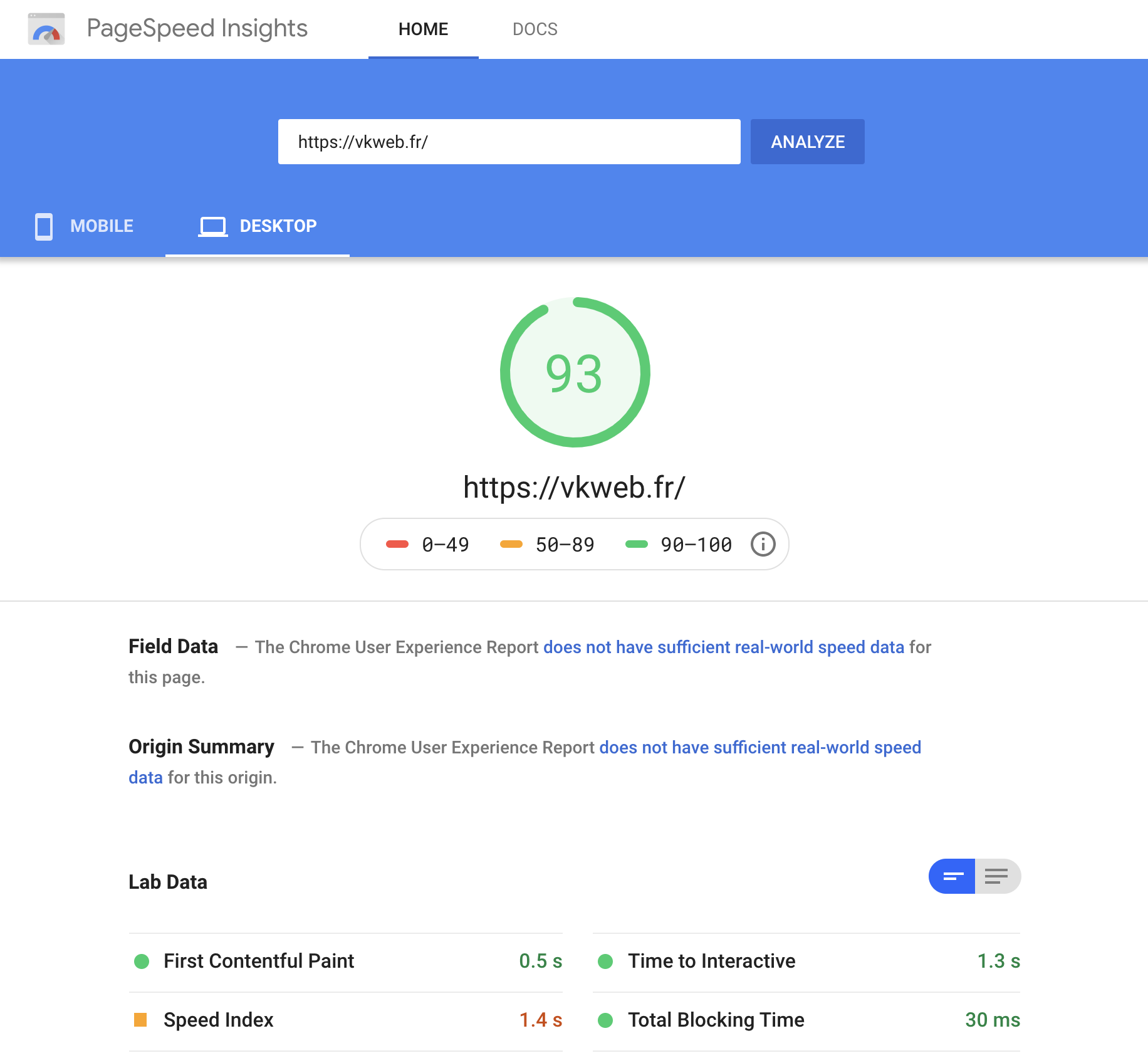 pagespeed desktop score