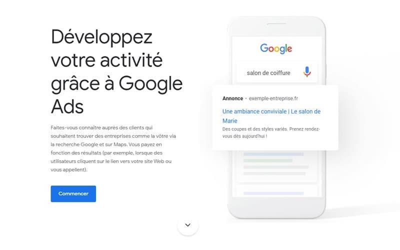 Exemple d'une landing page Google Ads