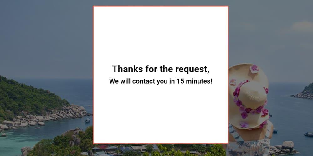 Page de remerciement sur une landing page or site web