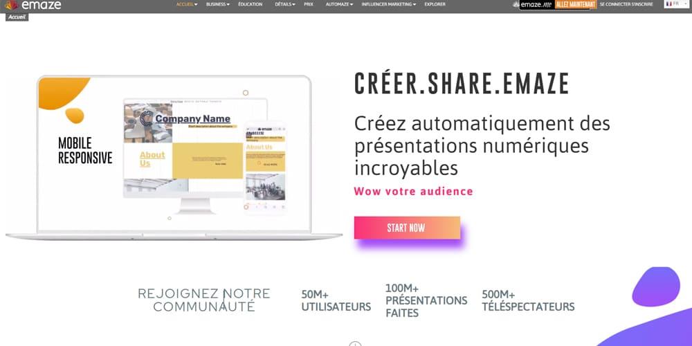 Emaze est un puissant outil de presentation en ligne