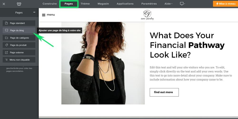 Ajouter une page de blog au site weebly