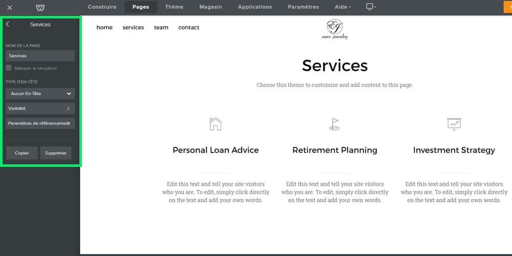 Configuration de la page de service weebly