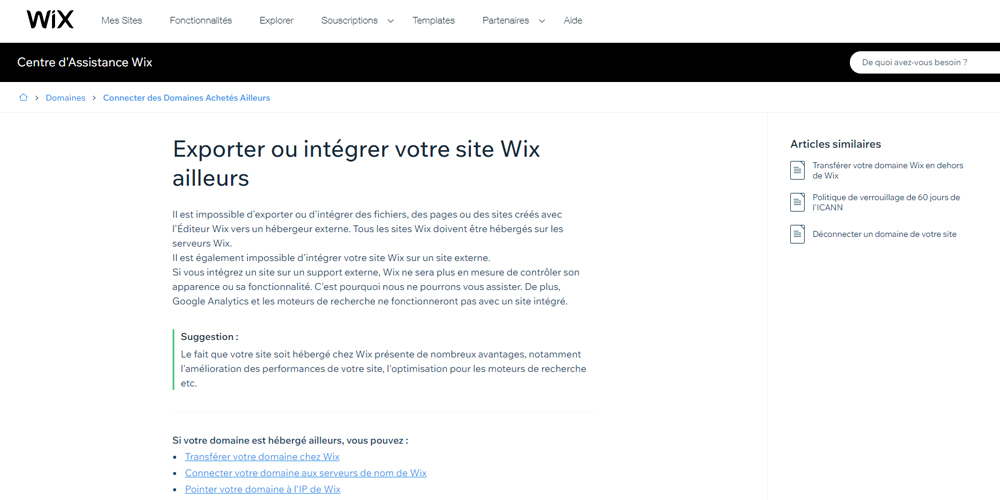 Exporter ou integrer le site wix ailleaurs