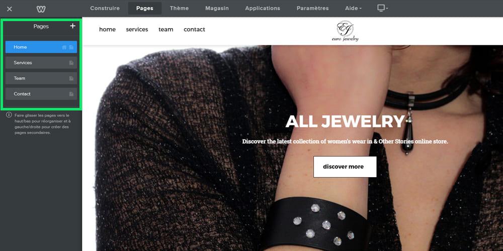 Personnalisation des pages du site weebly