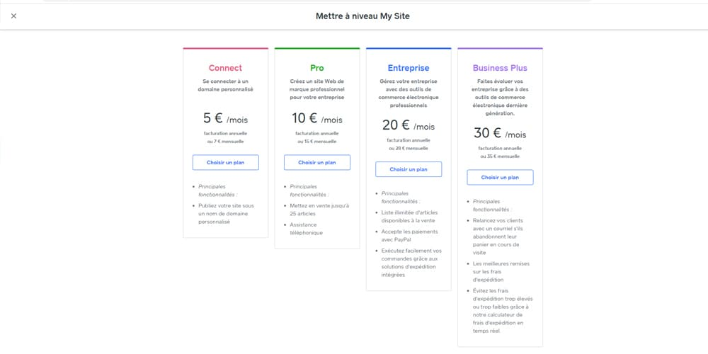 Tarifs payants pour la creation d'un site weebly