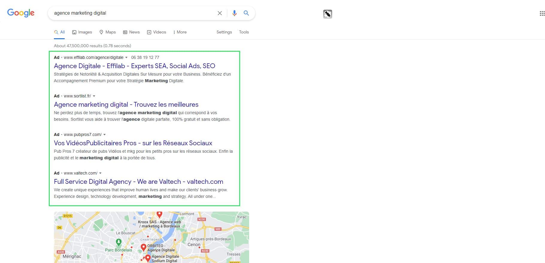 Exemple de publicité contextuelle