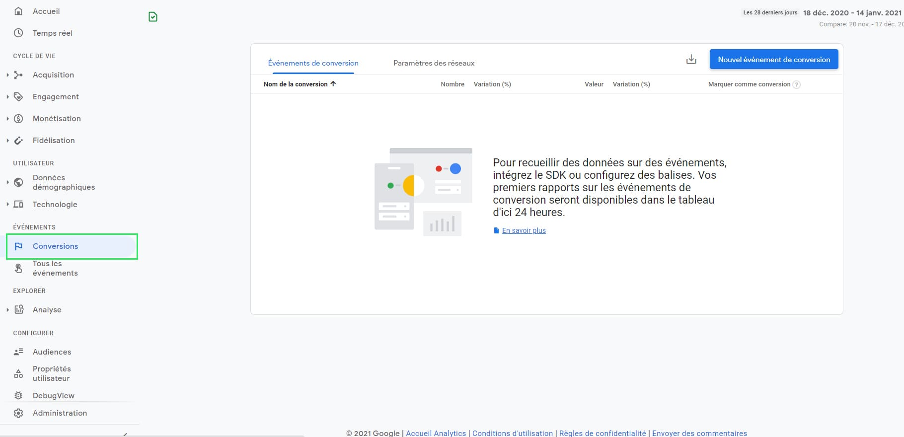 Onglet Conversion Google