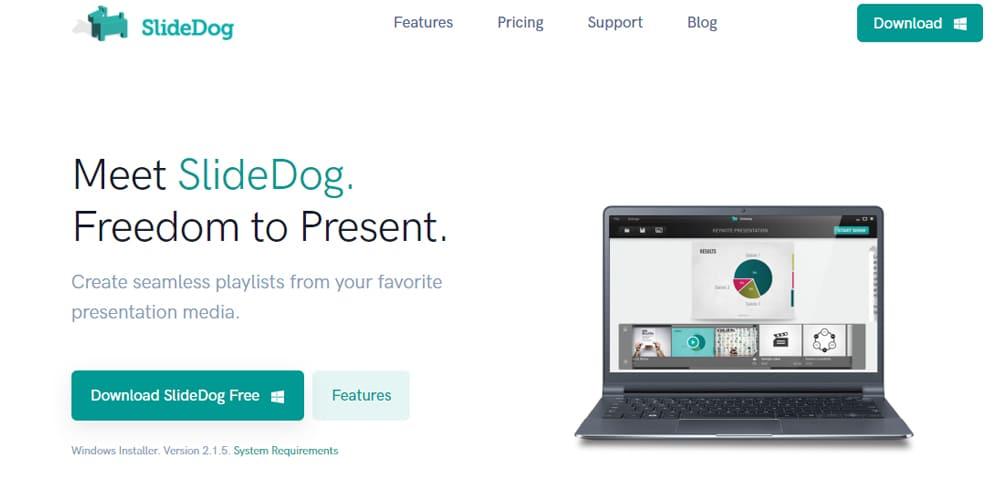 Page d'accueil du logiciel de presentations Slidedog