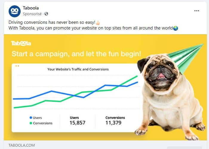 Un exemple de publicités ciblées Facebook