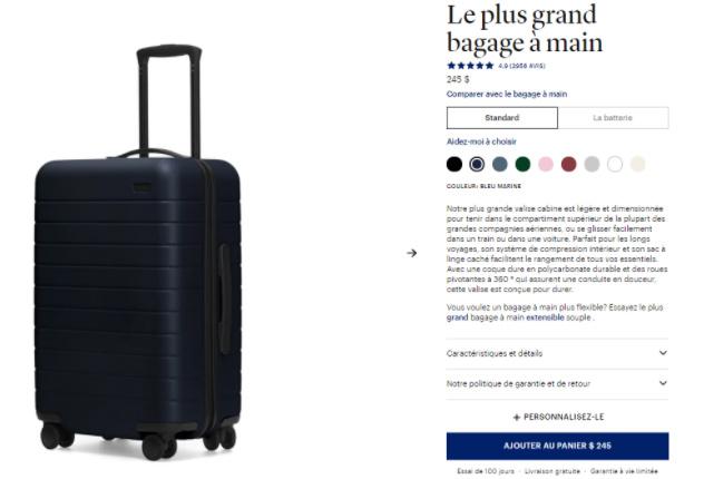 """Description du produit """"bagage à main"""""""