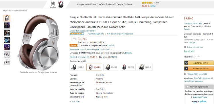 Titre du produit d'un casque Bluetooth