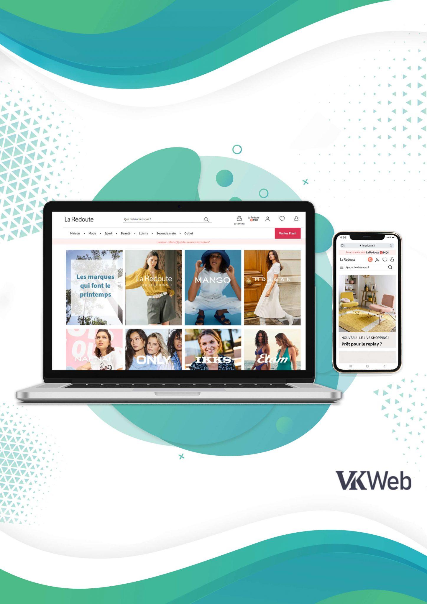 Le site web de La Redoute s'adapte à l'écran de l'ordinateur Version mobile du site web de La Redoute