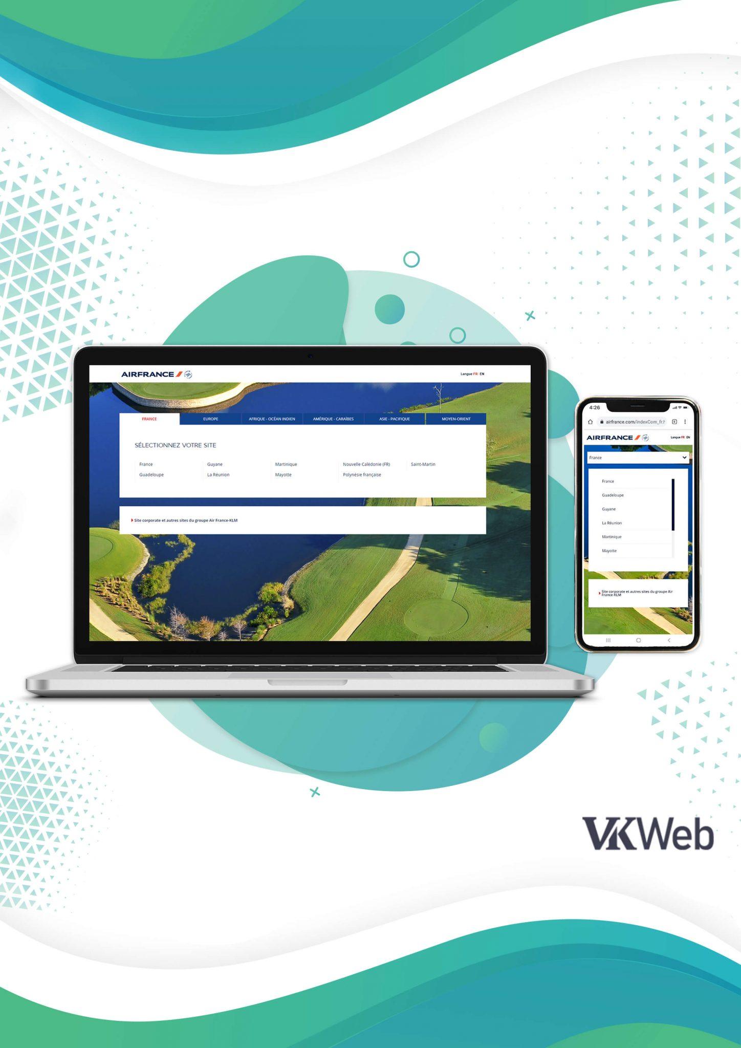 Le site web d'Air France qui s'adapte à l'écran de l'ordinateur Version mobile du site web d'Air France