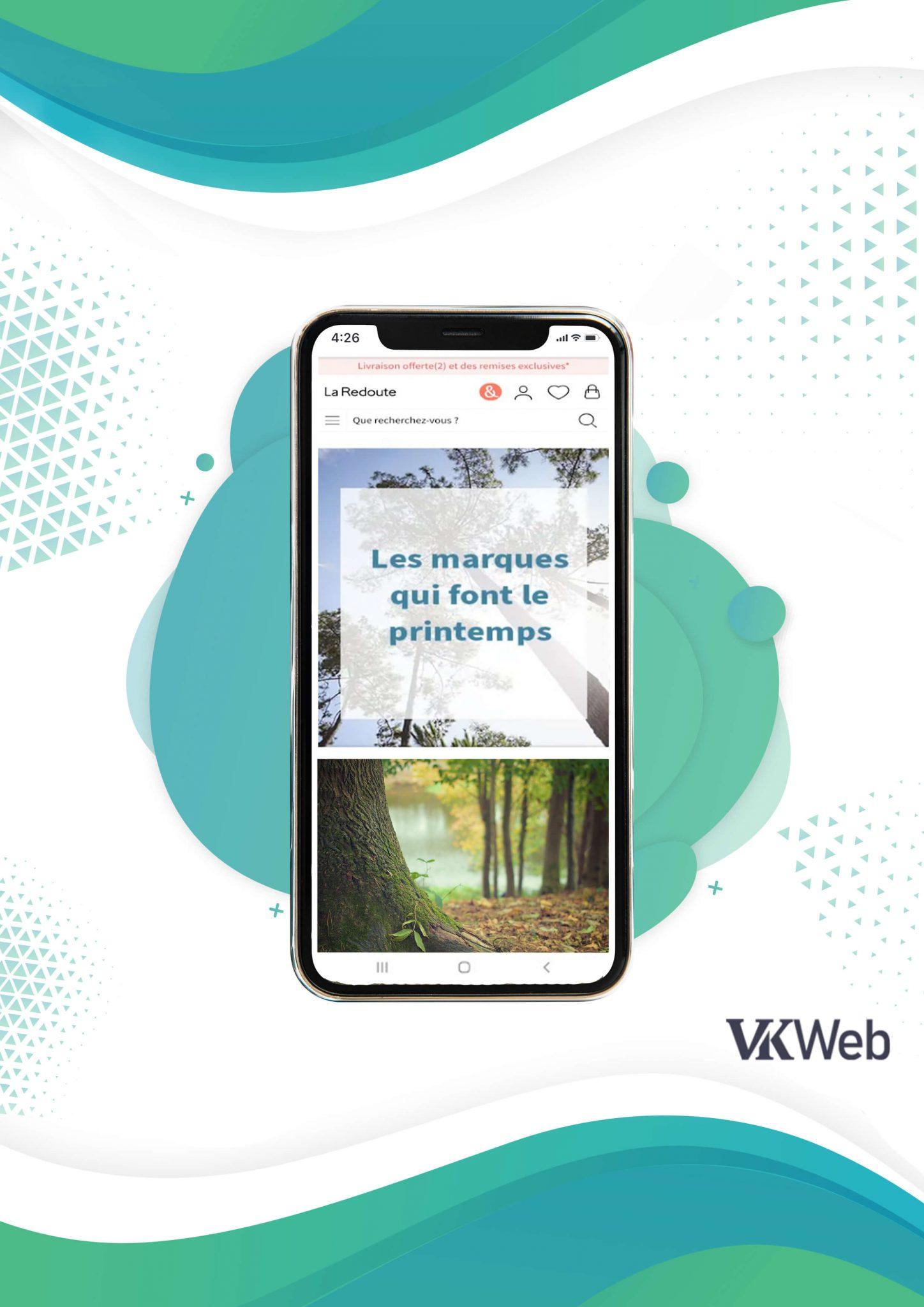 Version mobile du site mobile de La Redoute