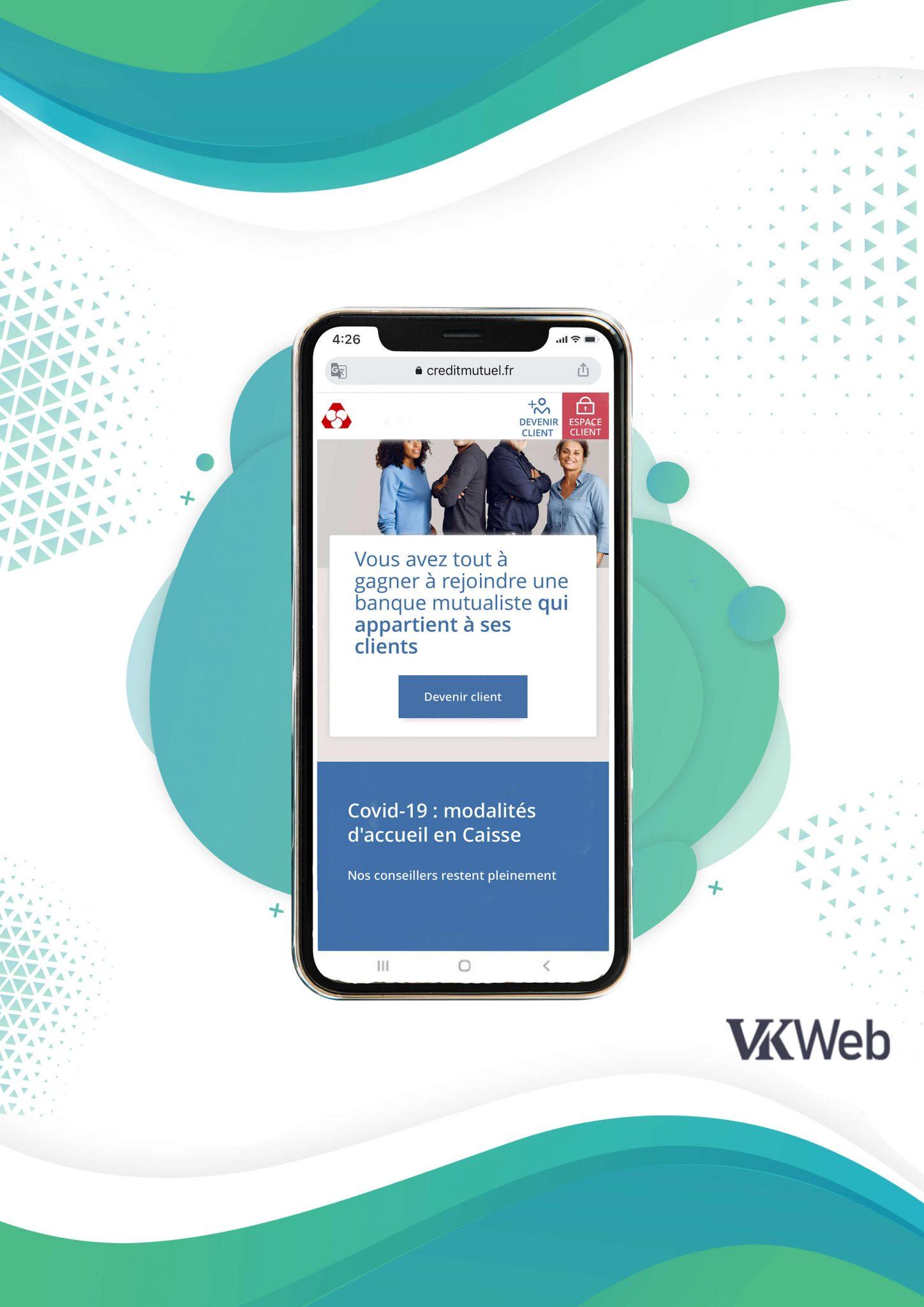 Le site mobile du Crédit Mutuel avec un bouton CTA en haut de page