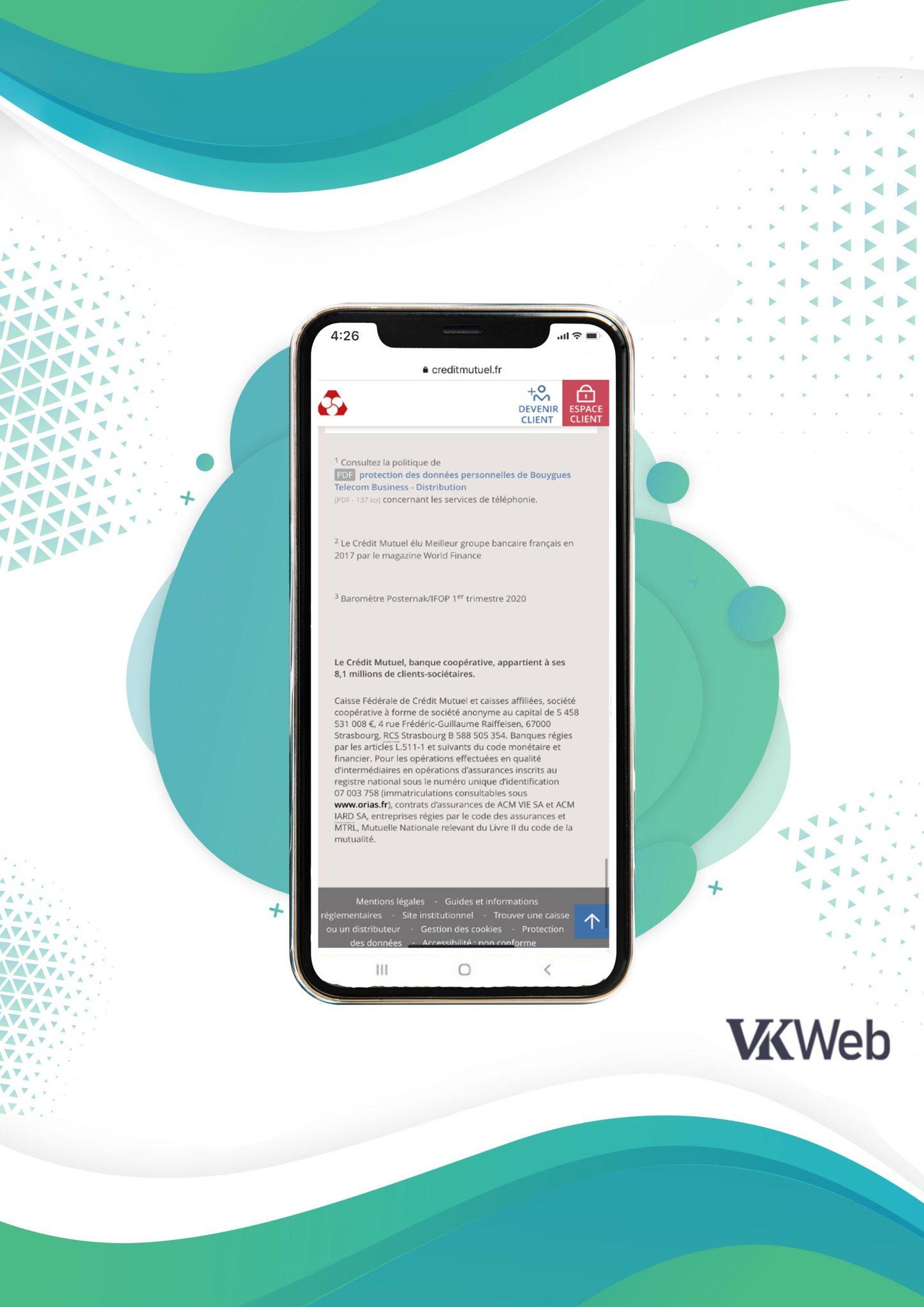 """Le site mobile du Crédit Mutuel dispose d'un bouton """"Retour en haut"""""""