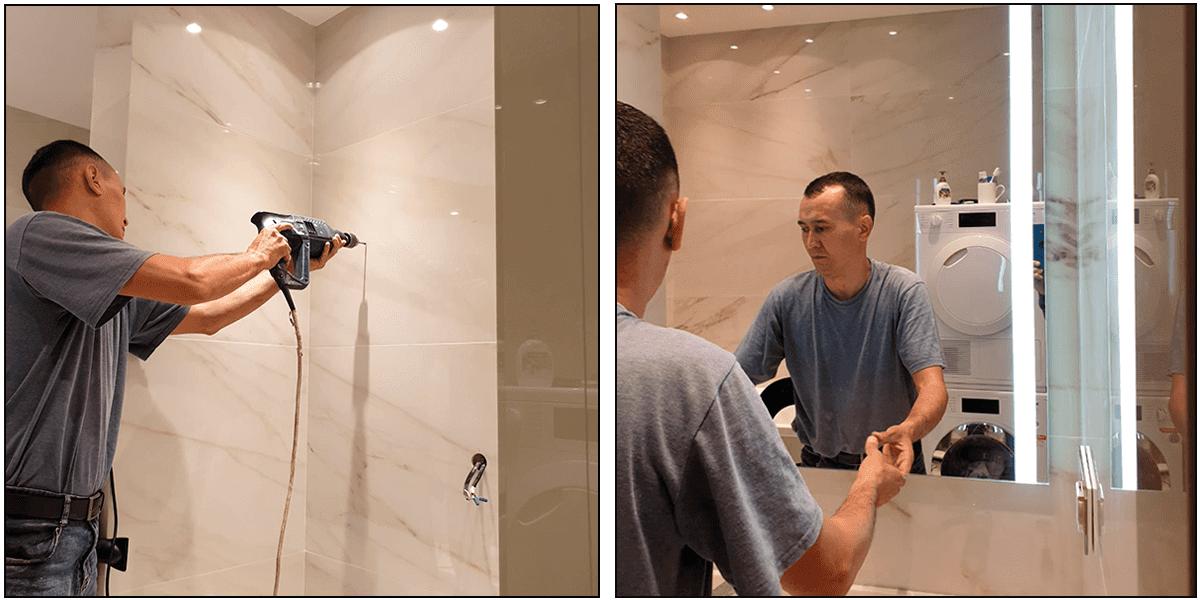 Installation du miroir lumineux sur mesure